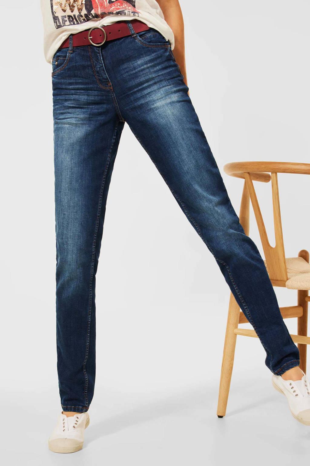 CECIL high waist slim fit jeans Toronto mid blue used wash, Mid blue used wash