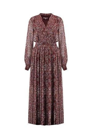 semi-transparante maxi jurk River met all over print roodbruin/ blauw