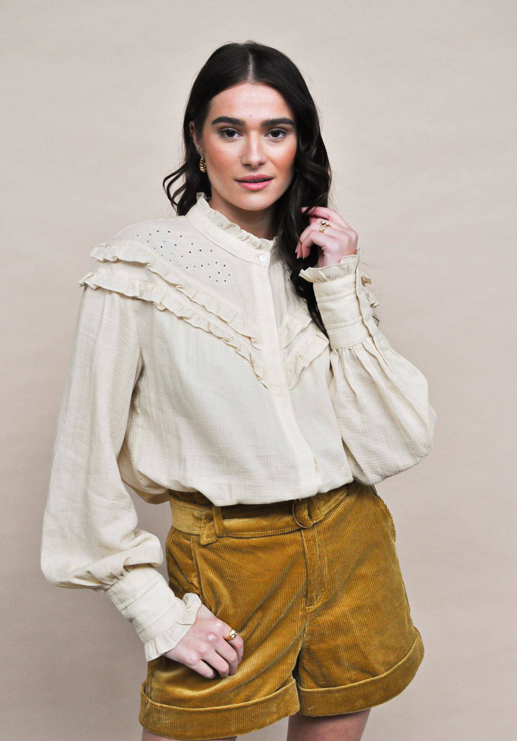 HARPER & YVE geweven blouse Claire met borduursels ecru, Ecru