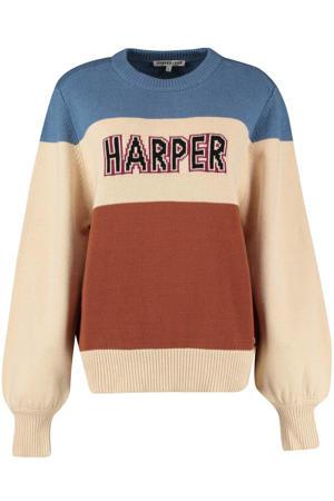 gebreide sweater bruin/ ecru