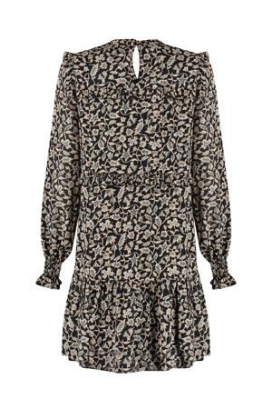 jurk Ruby met all over print en ruches zwart/ ecru