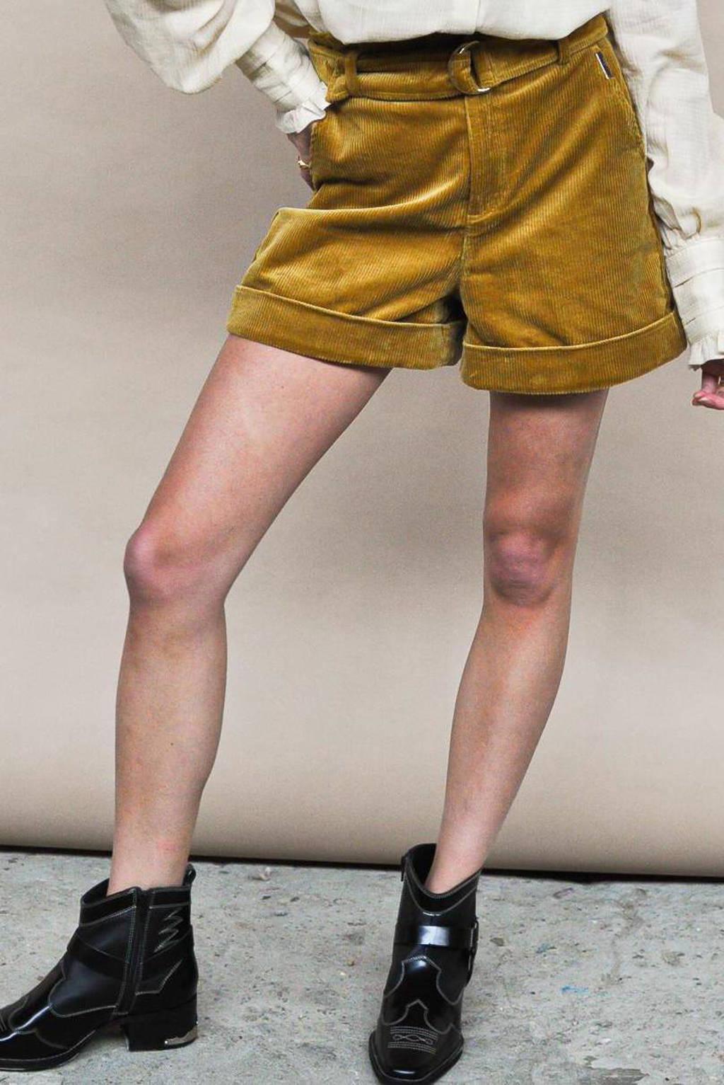 HARPER & YVE corduroy regular fit korte broek Yade met textuur geel, Geel
