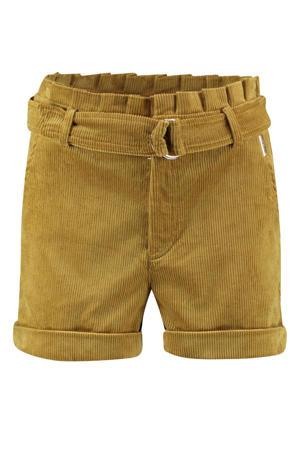 corduroy regular fit korte broek Yade met textuur geel