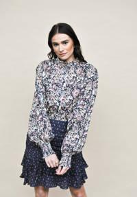 HARPER & YVE geweven blouse Gaby met all over print en ruches blauw/ lila, Blauw/ lila
