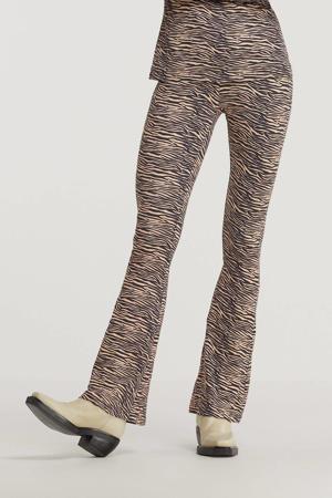 flared tregging Celine met zebraprint zwart/ beige