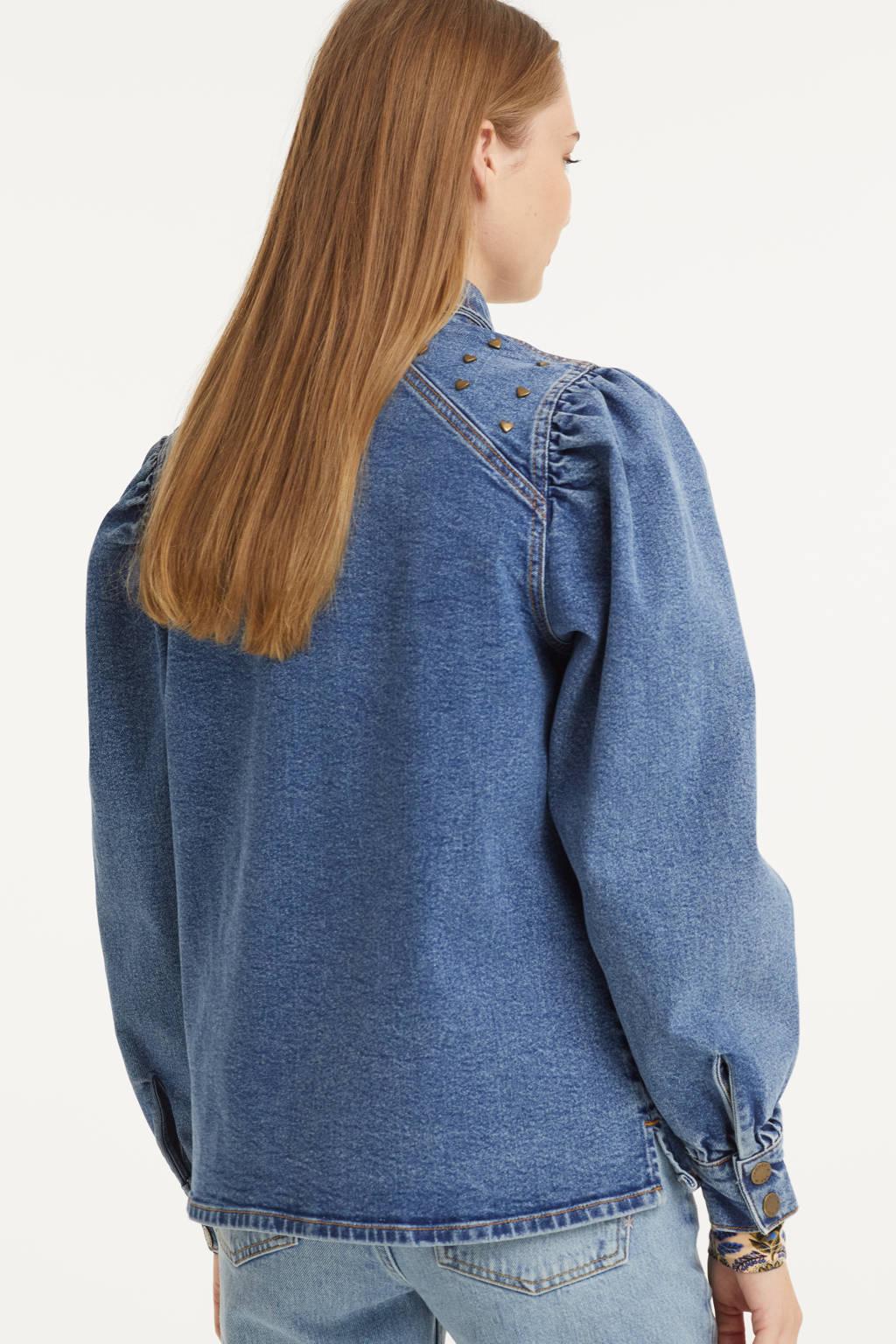 HARPER & YVE geweven blouse Cara met studs blue