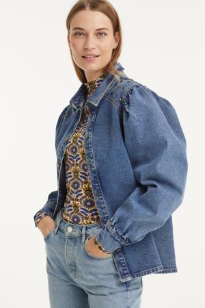 geweven blouse Cara met studs blue