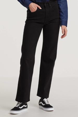 high waist straight fit jeans River zwart