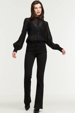 high waist flared jeans Raval-16 zwart