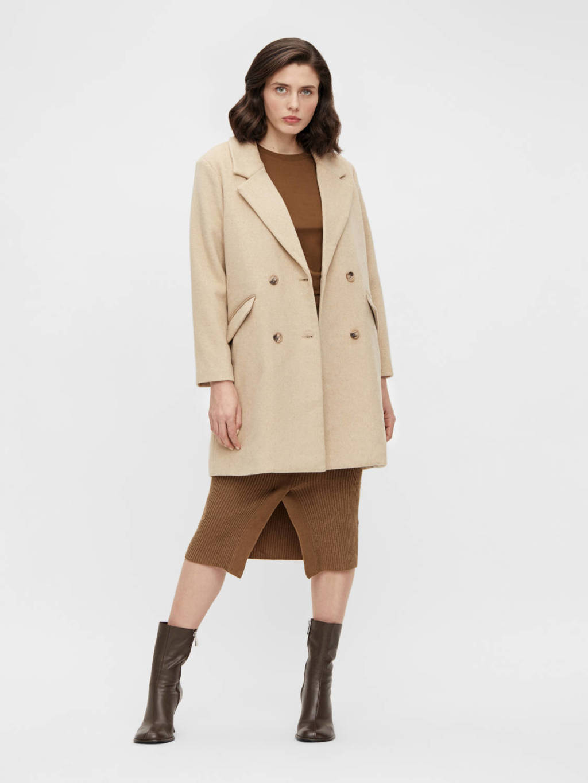 OBJECT  coat OBJKENIA met wol beige, Beige