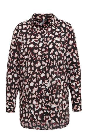 blouse PCFALISHI met all over print zwart/donkerrood/lichtroze