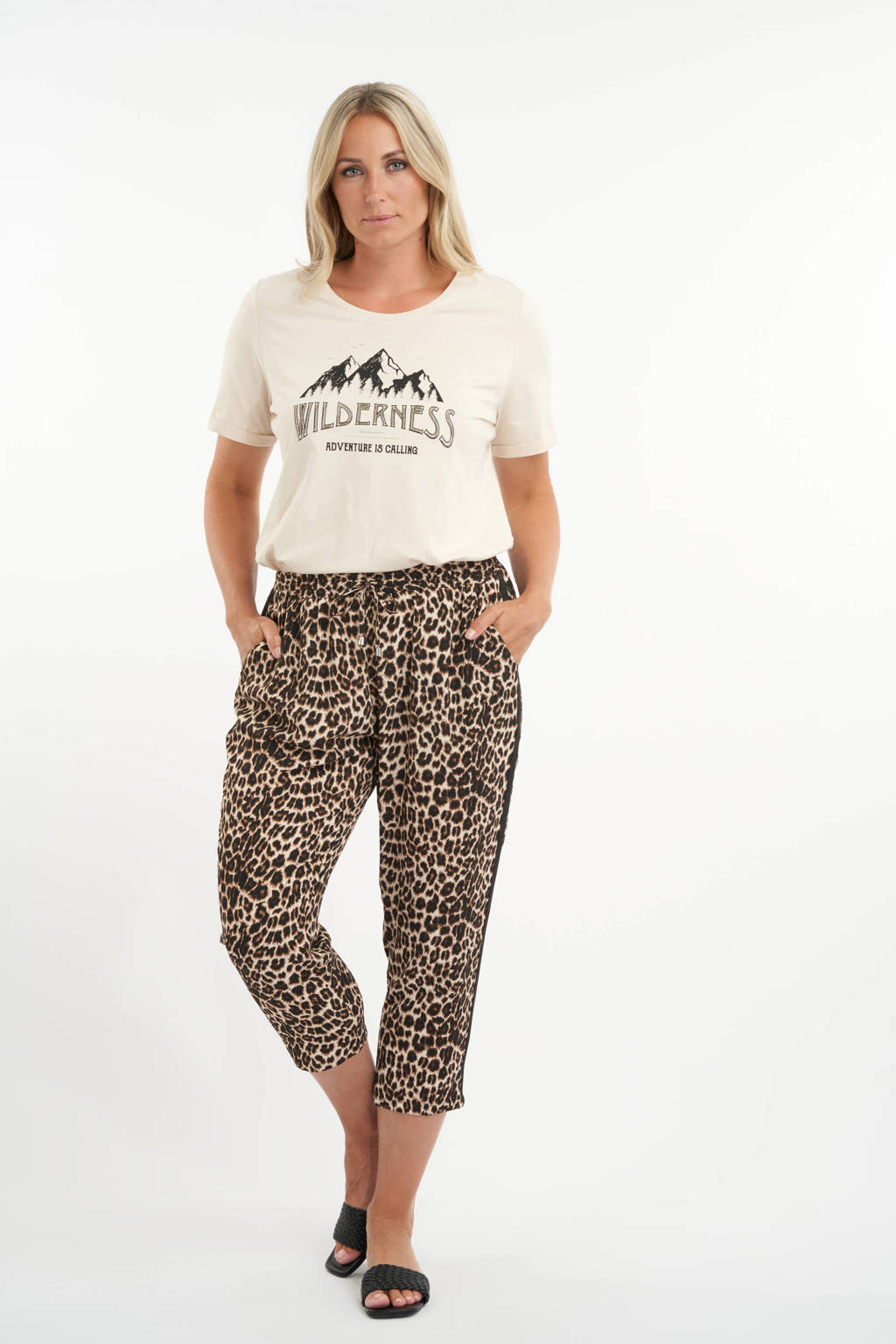 MS Mode straight fit broek met panterprint bruin, Bruin