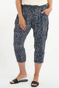 MS Mode straight fit broek met panterprint blauw, Blauw