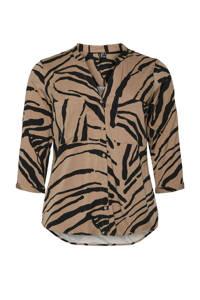 VERO MODA CURVE top VMZEE met zebraprint beige/zwart, Beige/zwart