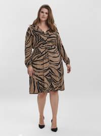 VERO MODA CURVE jurk VMZEE met zebraprint lichtbruin/zwart, Lichtbruin/zwart