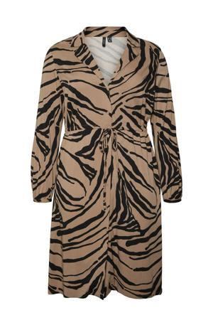 jurk VMZEE met zebraprint lichtbruin/zwart