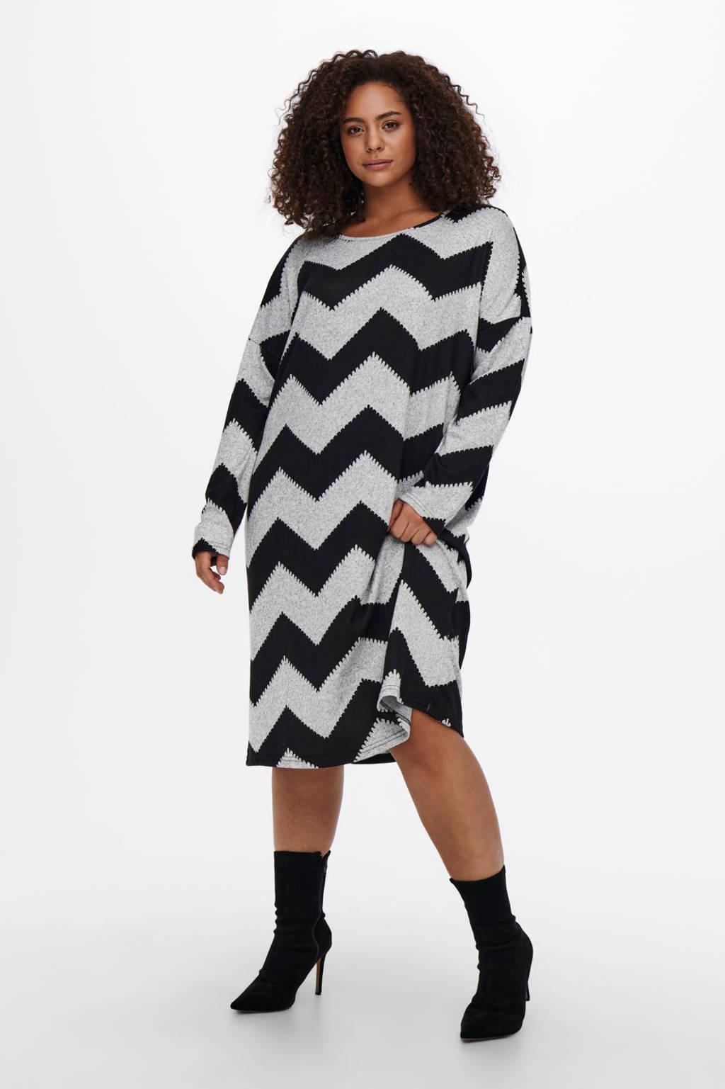 ONLY CARMAKOMA jurk CARALBA met all over print lichtgrijs/zwart, Lichtgrijs/zwart