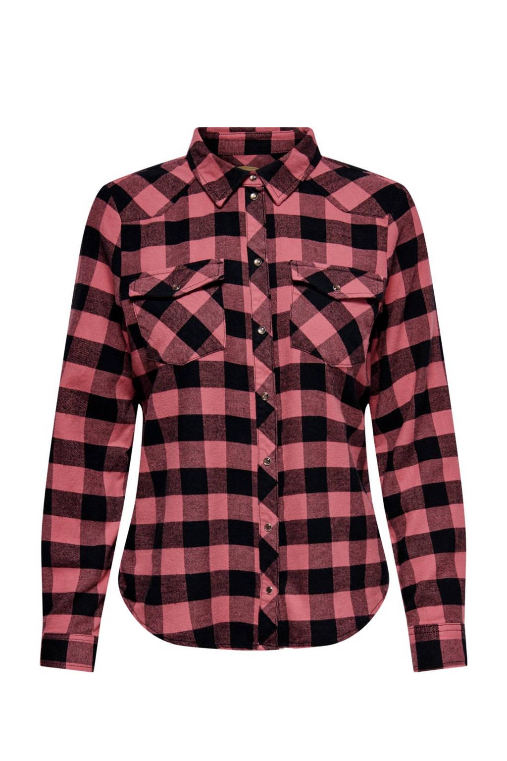 ONLY geruite blouse ONLROCK roze/zwart, Roze/zwart