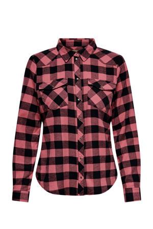 geruite blouse ONLROCK roze/zwart