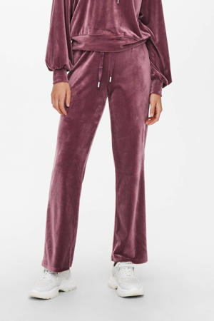 velours straight fit broek ONLLAYA roze
