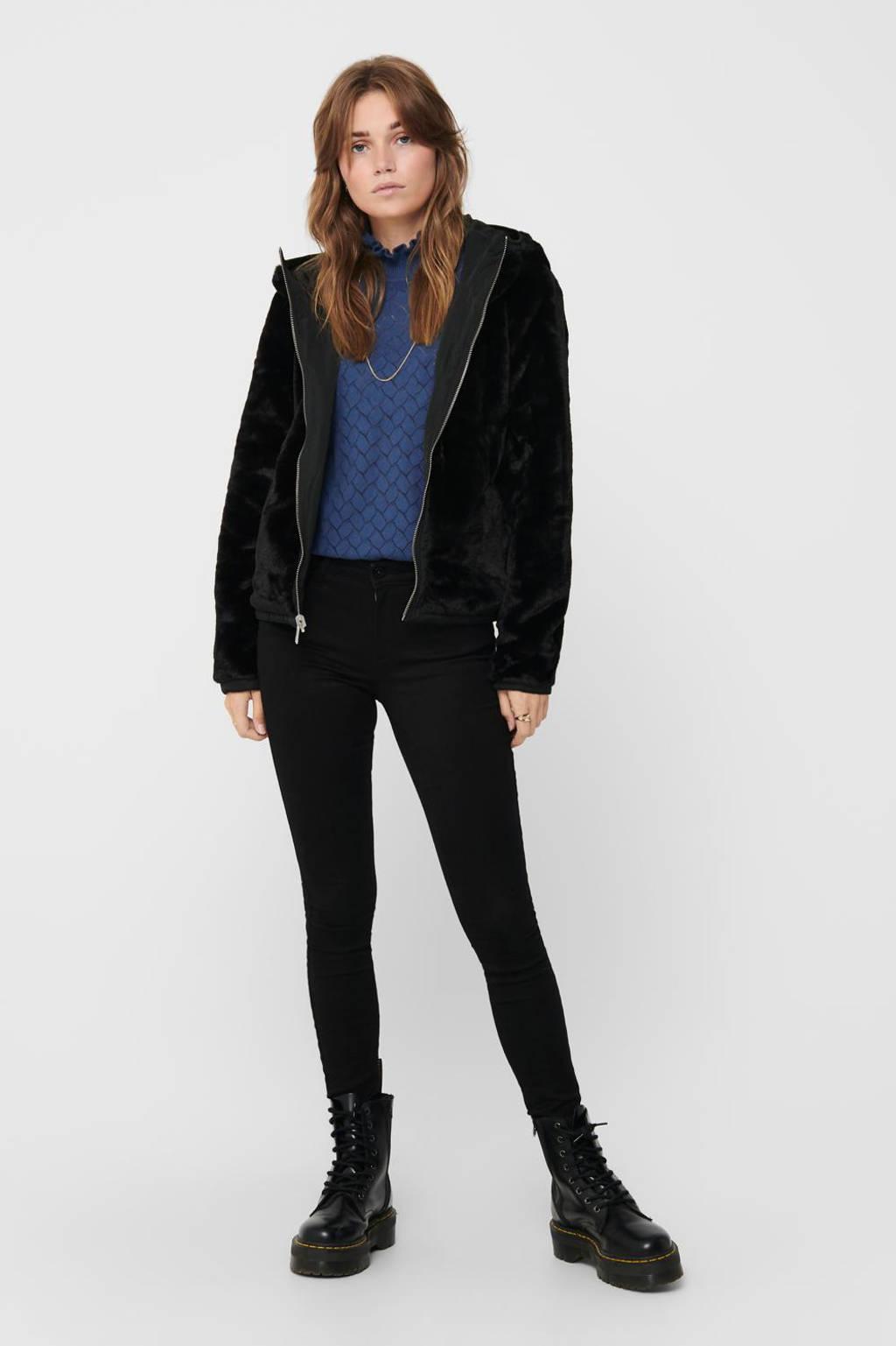 ONLY reversible jas met imitatiebont ONLDAHLIA zwart, Zwart