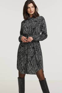 OBJECT blousejurk OBJSTORME met all over print zwart/wit, Zwart/wit