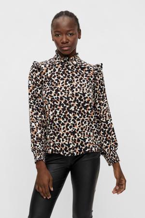 blouse OBJPAMALA met all over print en ruches wit/zwart/oranje