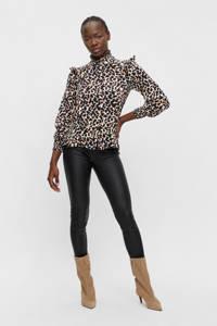 OBJECT blouse OBJPAMALA met all over print en ruches wit/zwart/oranje, Wit/zwart/oranje