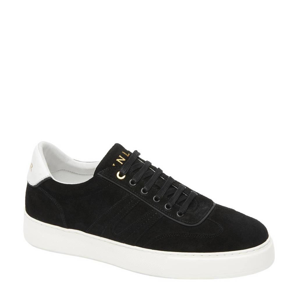 Van Lier Benito  suède sneakers zwart, Zwart