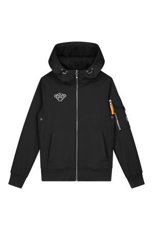 unisex softshell zomerjas met logo zwart