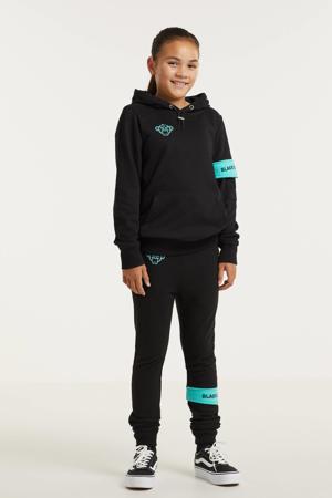 hoodie met logo zwart/aqua