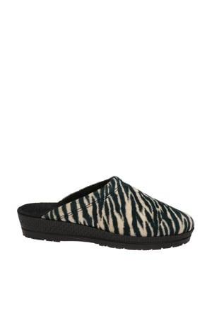 pantoffels met zebraprint