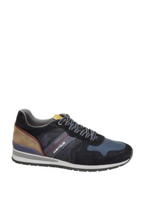 suède sneakers zwart/blauw