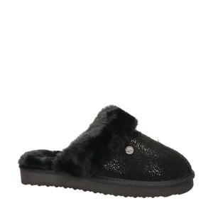 leren pantoffels zwart