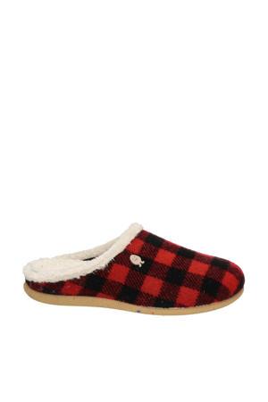 Tijvin pantoffels rood/zwart