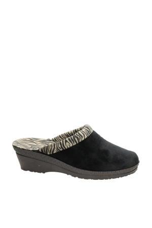 pantoffels met zebraprint zwart