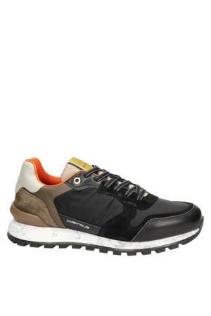 leren sneakers zwart/multi