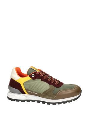 leren sneakers kaki/multi