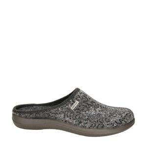 pantoffels met pailletten grijs