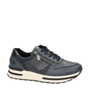 leren sneakers met crocoprint blauw