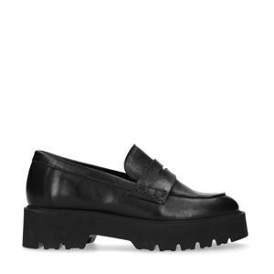 leren chunky loafers zwart