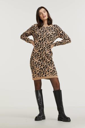 gebreide jurk OBJTHESS met dierenprint lichtbruin/zwart