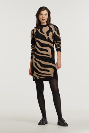 gebreide jurk OBJTHESS met all over print zwart/beige