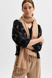 SELECTED FEMME blouse SLFMARGUNN met all over print en ruches zwart, Zwart