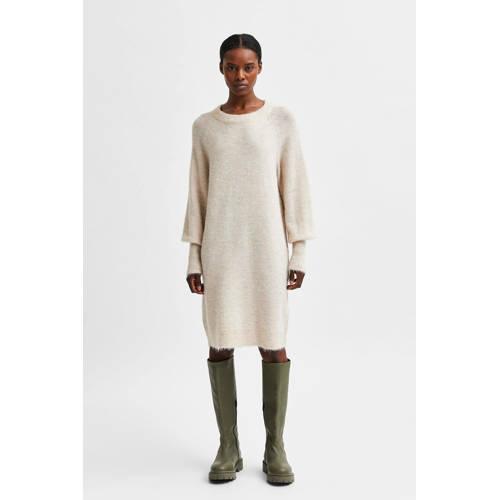 SELECTED FEMME gemêleerde gebreide jurk SLFLULU met wol ecru