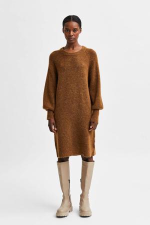 gemêleerde gebreide jurk SLFLULU met wol bruin