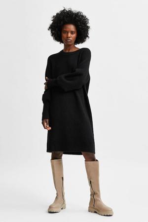 gemêleerde gebreide jurk SLFLULU met wol zwart