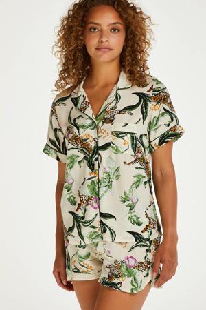 pyjamashort met all over print ecru/roze/groen