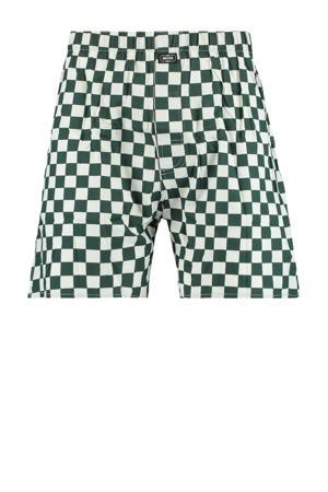 geblokte boxershort groen/wit