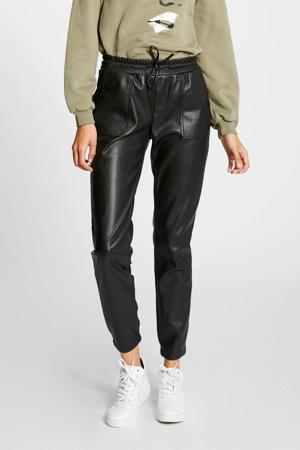 imitatieleren cropped high waist slim fit broek zwart